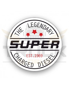 Super Charged Diesel biały - naklejka mała