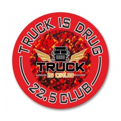 Truck is Drug plush red - sticker small